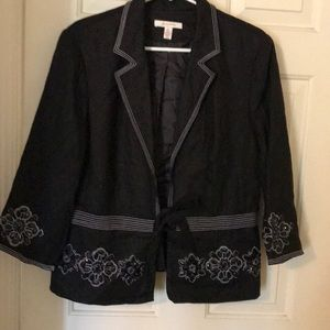 Stunning black beaded blazer by JM Collection NWT